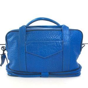 Cobalt blue leather overnighter travel gym bag